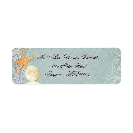 BlumenHütte durch die Muscheln-Beachy Hochzeit Rücksendeetikett