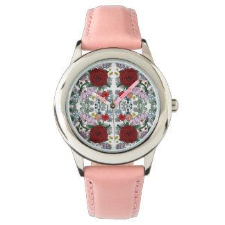 BlumenKaleidoskop-Edelstahl-Rosa-Uhr Armbanduhr