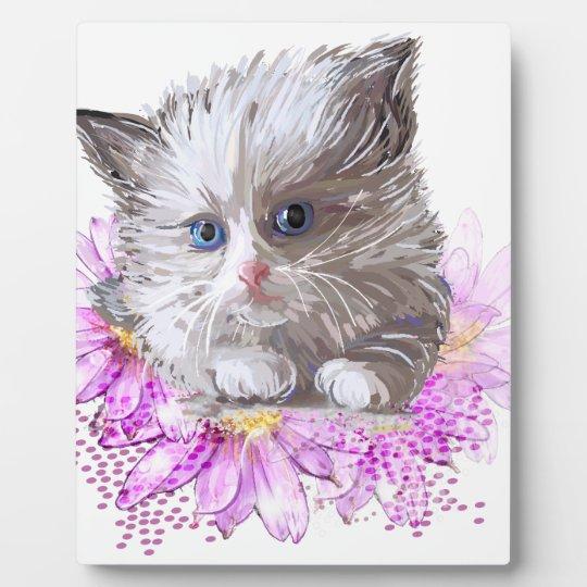 Blumenkatze - Meow Fotoplatte