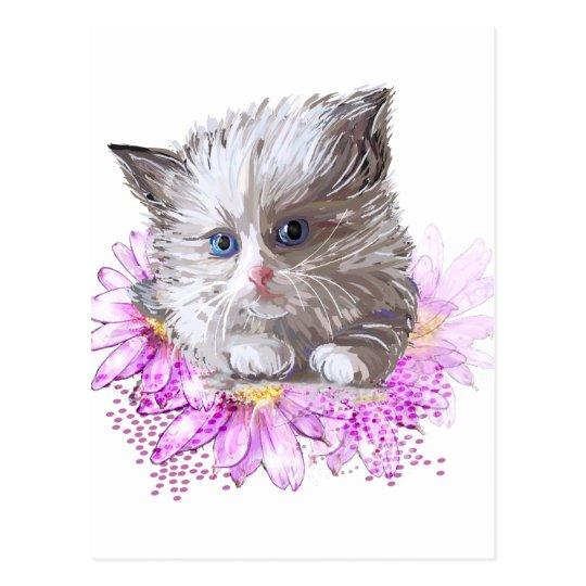 Blumenkatze - Meow Postkarte