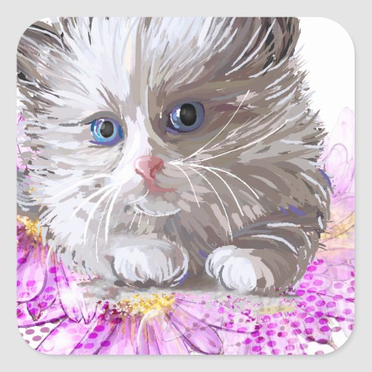 Blumenkatze - Meow Quadratischer Aufkleber