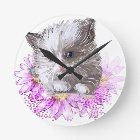 Blumenkatze - Meow Runde Wanduhr