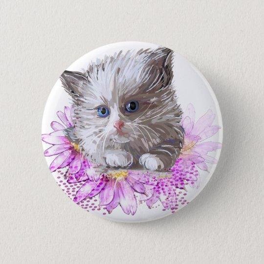 Blumenkatze - Meow Runder Button 5,7 Cm