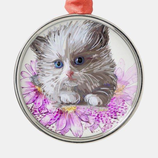 Blumenkatze - Meow Rundes Silberfarbenes Ornament