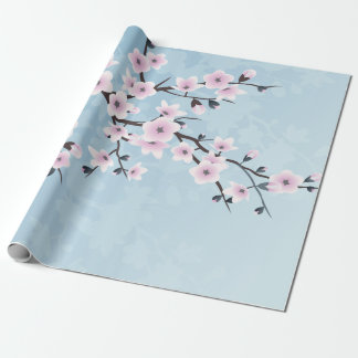 Blumenkirschblüten-düsteres rosa hellblaues einpackpapier