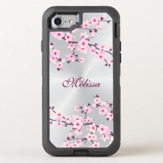 Blumenkirschblüten-Silber-Rosa-Monogramm OtterBox Defender iPhone 8/7 Hülle