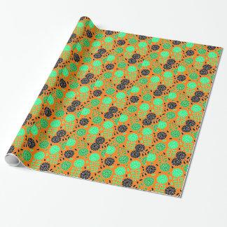 Blumenkontrastorange Einpackpapier
