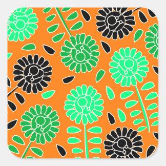Blumenkontrastorange Quadratischer Aufkleber