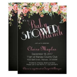 Blumenkreide-Babyparty-Einladung u. Buch-Karte Karte