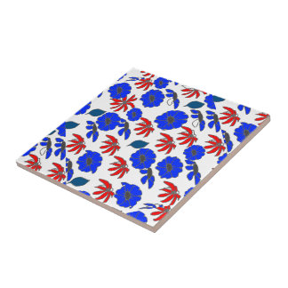 Blumenmélange rotes weißes und blaues Muster Kacheln
