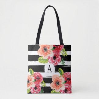 BlumenMonogramed Schwarz-weiße Taschen-Tasche Tasche