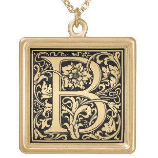 Blumenmonogramm-Beispielbuchstabe B Vergoldete Kette