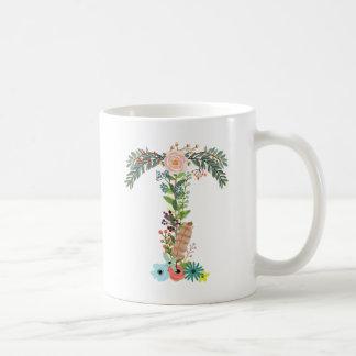 Blumenmonogramm-Initialen-Kaffeetasse-Buchstabe T Kaffeetasse