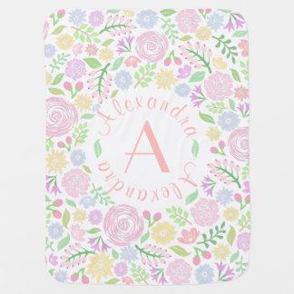 Blumenmonogramm-PastellBaby-Baby-Decke Kinderwagendecke