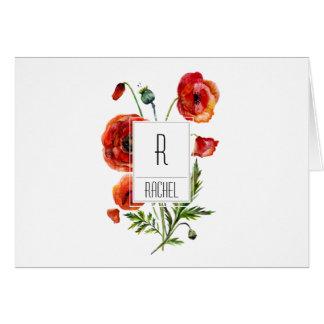 Blumenmonogramm-Raum-Anmerkungs-Karten-rote Mitteilungskarte