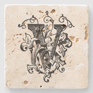 Blumenmonogramm 'V Steinuntersetzer