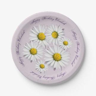 Blumenmuster der weißen und gelben Gänseblümchen Pappteller