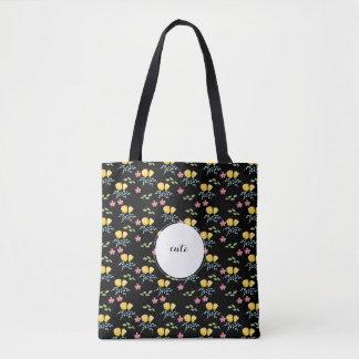 Blumenmuster mit Nameumbau Tasche