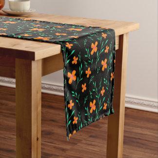 Blumenmuster Schwarzes Kurzer Tischläufer