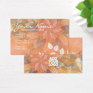 Blumennatur-Orange + Logo-Visitenkarteschablone Visitenkarte