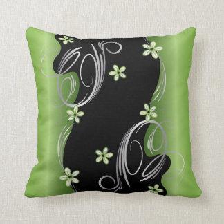 BlumenPeridot und schwarzer Strudel-Entwurf Kissen