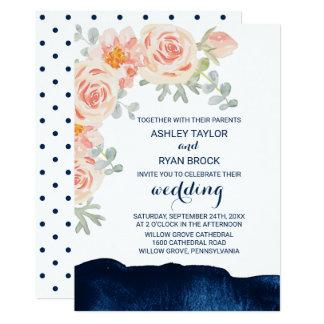 Blumenpfirsich-Rosa und Marine-Aquarell-Hochzeit 12,7 X 17,8 Cm Einladungskarte
