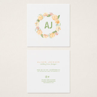 Blumenpfirsichgrün-Kranz-Hochzeitskleiderdesigner Quadratische Visitenkarte