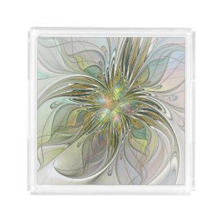 Blumenphantasie-moderne Fraktal-Kunst-Blume mit Acryl Tablett
