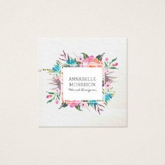 Blumenrahmen-Aquarell-Visitenkarte Quadratische Visitenkarte