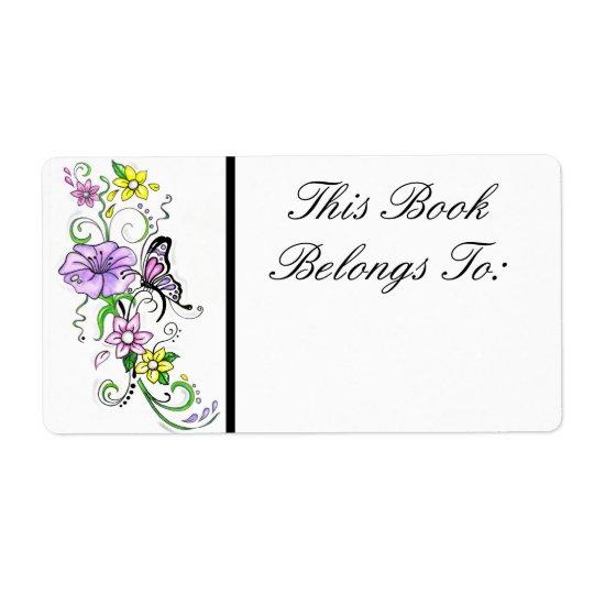 Blumenschmetterlings-Buch-Aufkleber Großer Adressaufkleber