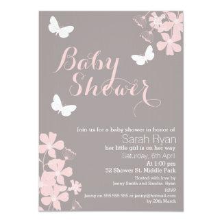 Blumenschmetterlings-Mädchen-Babyparty-Einladung Karte