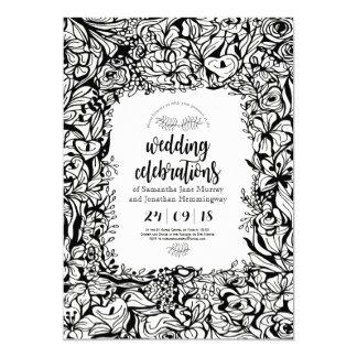 Blumenschwarzweiss-Frühlings-Hochzeits-Karte 12,7 X 17,8 Cm Einladungskarte
