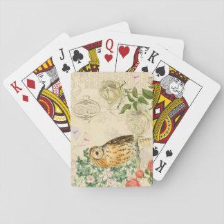 Blumenspielkarten der Vintagen Eule mit schöner Spielkarten