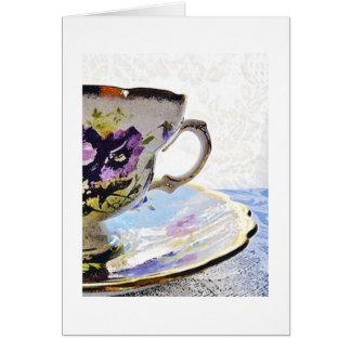 BlumenStiefmütterchen-Tee-Schalen-freier Raum Mitteilungskarte