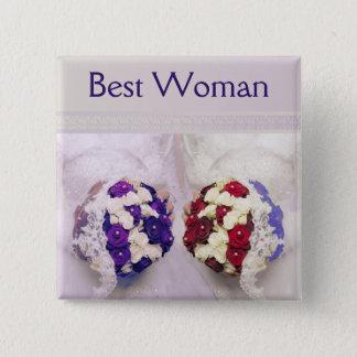Blumenstrauß-Braut-bestes Frauen-Abzeichen für Quadratischer Button 5,1 Cm