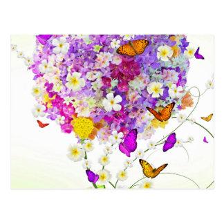 Blumenstrauß der Blumen und der Schmetterlinge Postkarte
