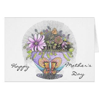 Blumenstrauß der Karte der Blumen-Mutter Tages Grußkarte