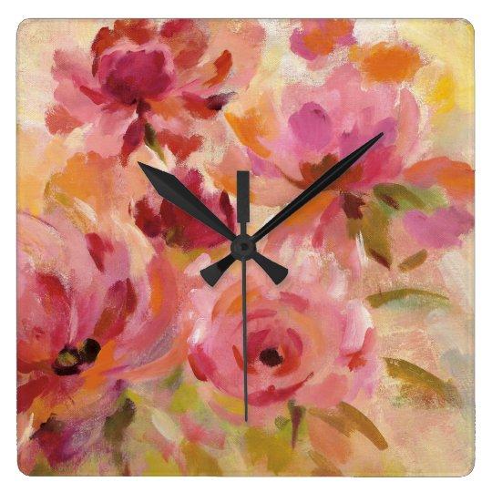 Blumenstrauß der Rosen Quadratische Wanduhr