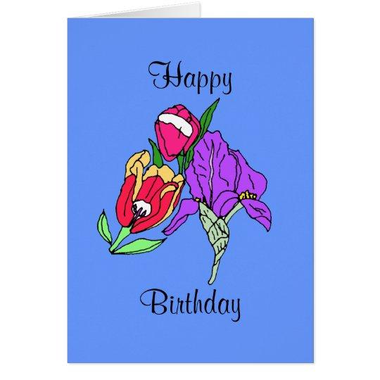 Blumenstrauß, glücklich, Geburtstag Karte