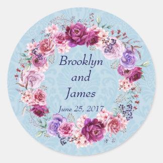 Blumenstrauß-Hochzeit des Rosa-A-1 und Burgunders Runder Aufkleber