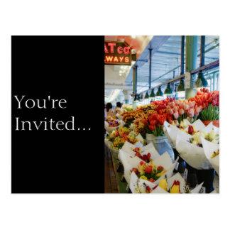 Blumenstrauß-Straße Markt Postkarte