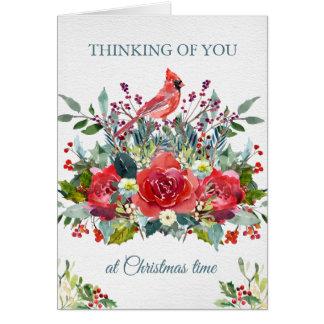 Blumenstrauß u. Kardinal der Karte