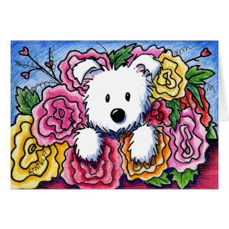 Blumenstrauß Westie Mutter Tages Karte