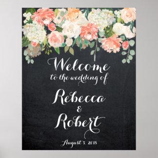 Blumentafel des willkommenen poster