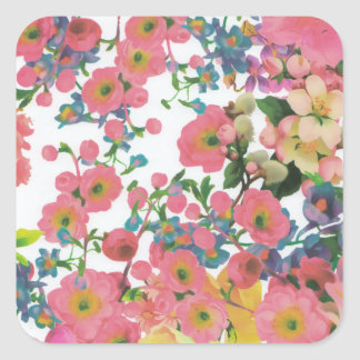 Blumenthemamuster der Vintagen eleganten Blumen Quadratischer Aufkleber
