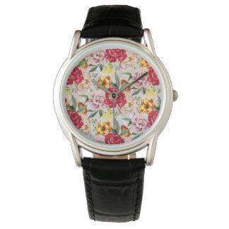 Blumenuhr-klassisches schwarzes Leder Uhr