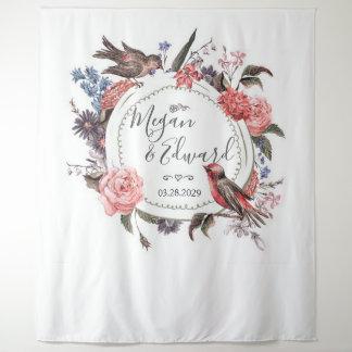 Blumenvogel-Hochzeits-Hintergrund-Empfangs-Dekor Wandteppich