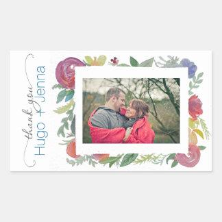 Blumenwatercolor-Foto-Aufkleber Rechteckiger Aufkleber