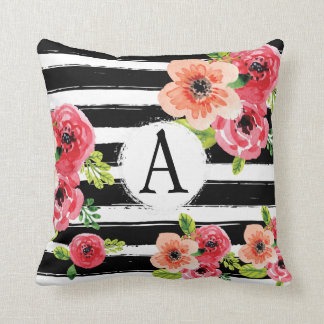 BlumenWatercolor Monogramed Schwarz-weiße Streifen Kissen