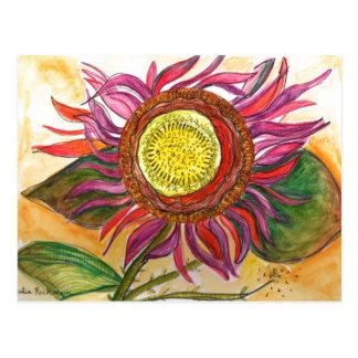 Blumenwatercolor und Tinte, die Postkarte zeichnet